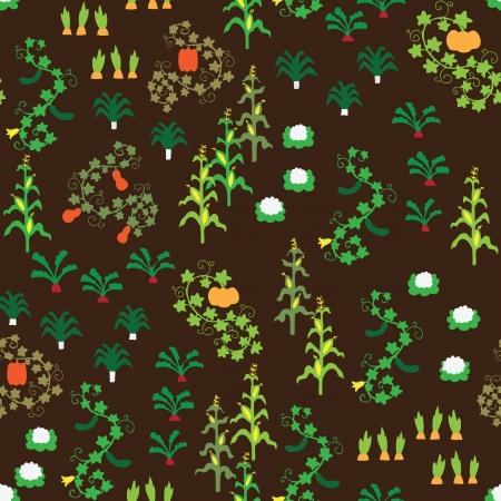 Seamless retro vegetable garden pattern Stock Vector - 14404487