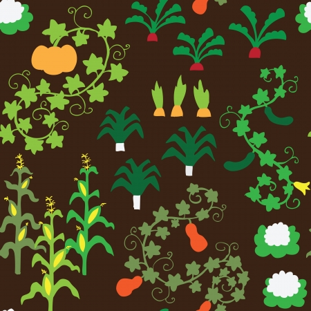 Seamless retro vegetable garden pattern