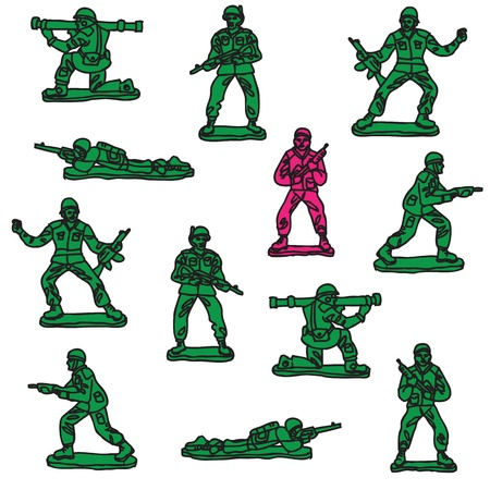 seamless toy soldiers pattern Vector