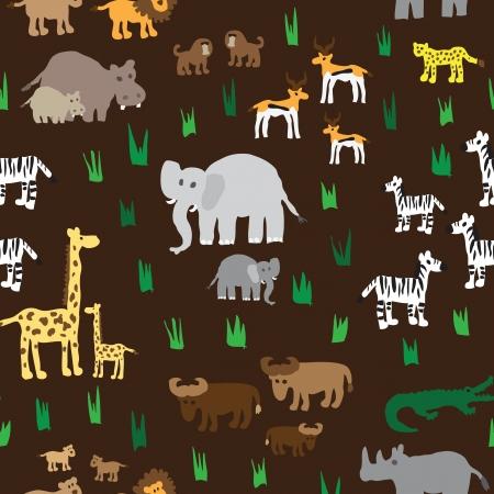 zoo animals: Seamless retro fifties african zoo animals pattern