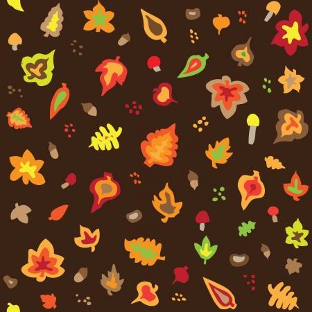 Seamless retro fifties autumn leaves pattern Vector