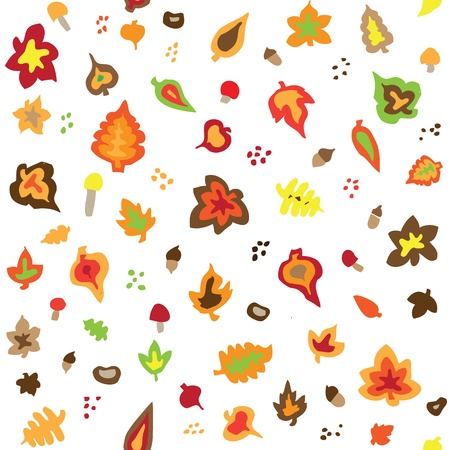 Seamless retro fifties autumn leaves pattern Illustration