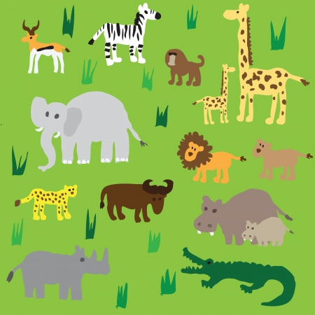 Seamless retro fifties african zoo animals pattern Vector