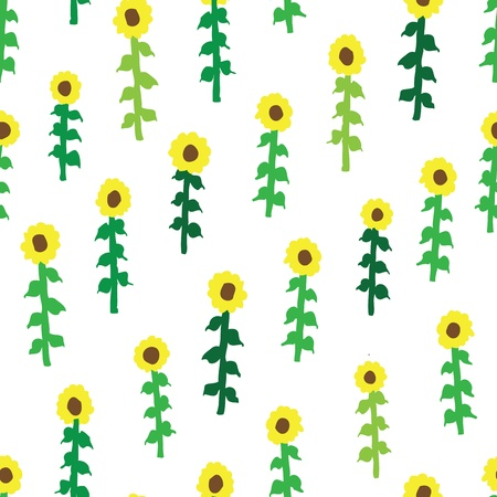 seamless retro fifties sunflower field pattern Stock Vector - 14646655