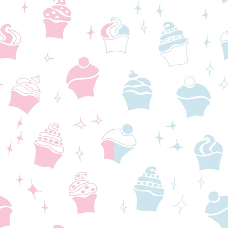 flan: seamless retro fifties baby boy girl cupcake pattern