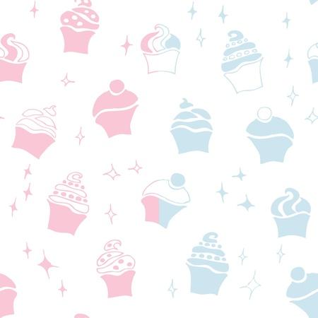 seamless retro fifties baby boy girl cupcake pattern