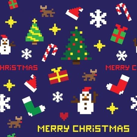 seamless retro pixel game Christmas pattern vector Stock Vector - 17107047