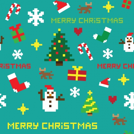 seamless retro pixel game Christmas pattern vector
