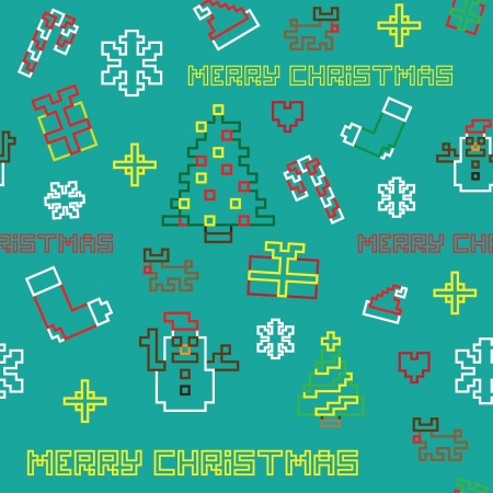 seamless retro pixel game Christmas pattern vector Stock Vector - 17107043