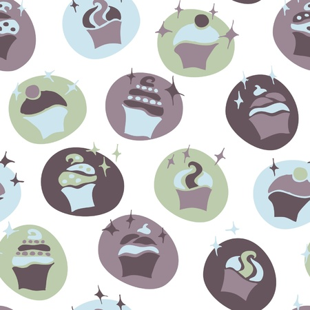 flan: seamless retro fifties blue baby boy cupcake pattern vector Illustration