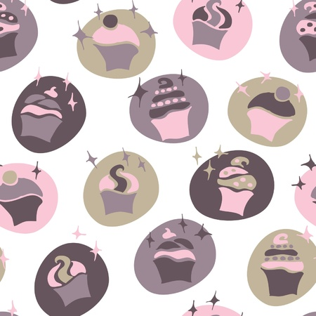seamless retro fifties pink baby girl cupcake pattern vector Vector