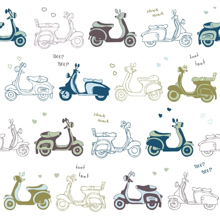 seamless retro scooter vector pattern