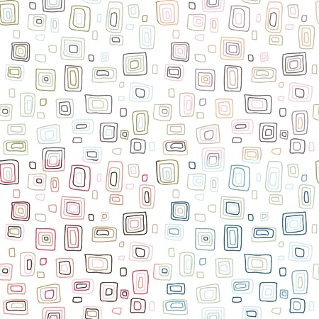 seamless retro fifties stroked square background vector pattern