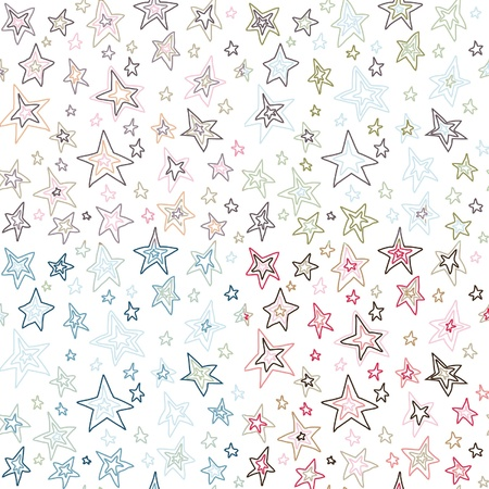 seamless retro fifties stroked stars background vector pattern