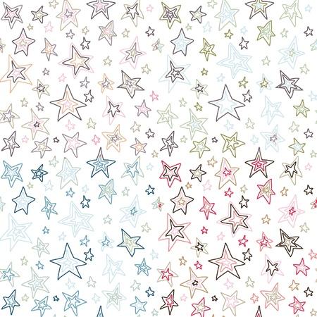 midcentury: seamless retro fifties stroked stars background vector pattern