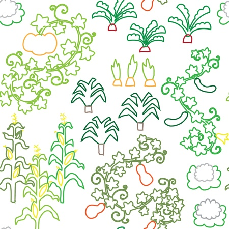 stroked: seamless retro fifties stroked vegatable garden pattern vector