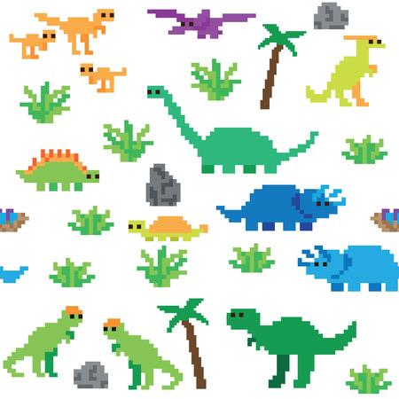 Seamless retro pixel game dinosaur pattern Ilustração