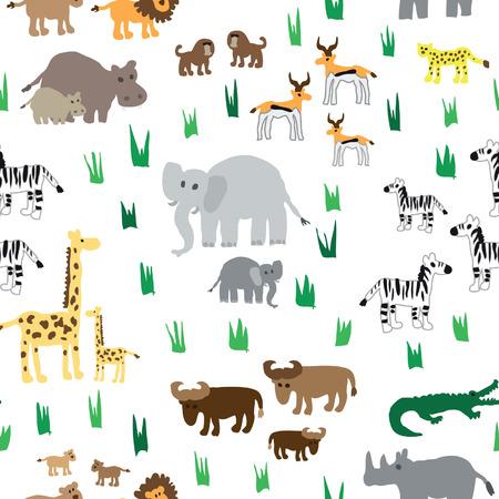 Seamless african animals pattern
