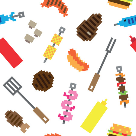 Seamless pixel barbecue meat pattern Vector