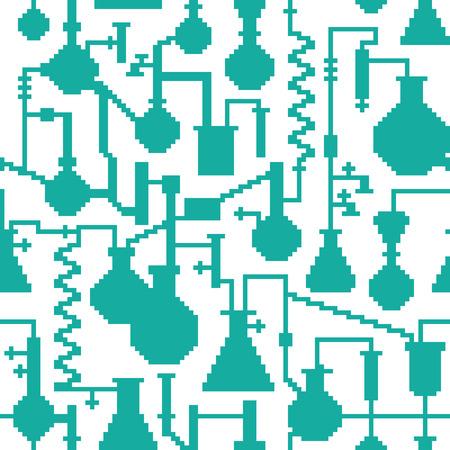 erlenmeyer: Seamless retro pixel game science lab pattern