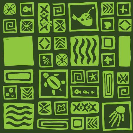 tiki head: Seamless tiki pattern Illustration