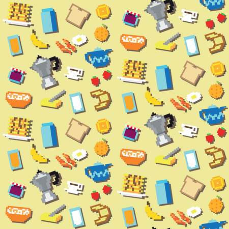 bread and butter: Seamless retro pixel breakfast pattern