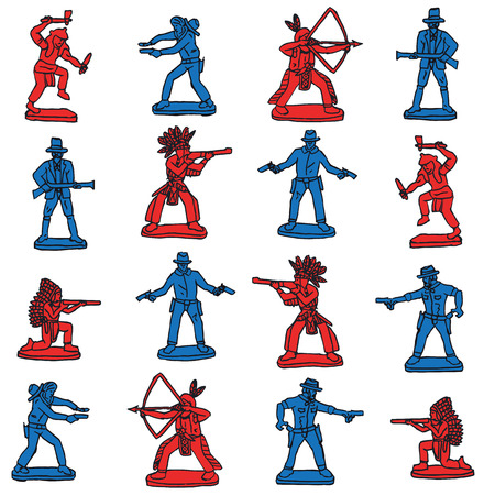 indian weapons: Seamless retro cowboy indian toys pattern