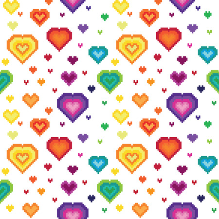 Seamless retro pixel heart pattern