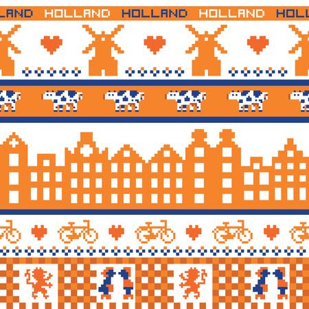 holland landscape: Seamless retro pixel Holland orange pattern