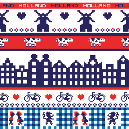 Seamless retro pixel Holland pattern Vector