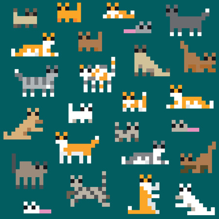 Seamless retro pixel cat pattern Vector