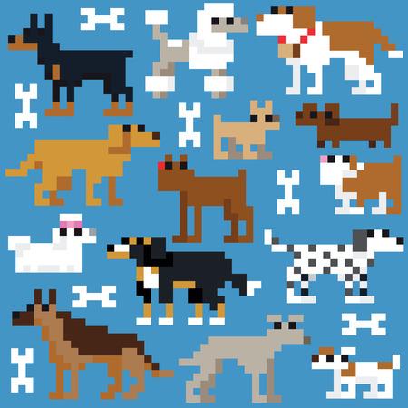 Seamless retro pixel dog pattern Vector