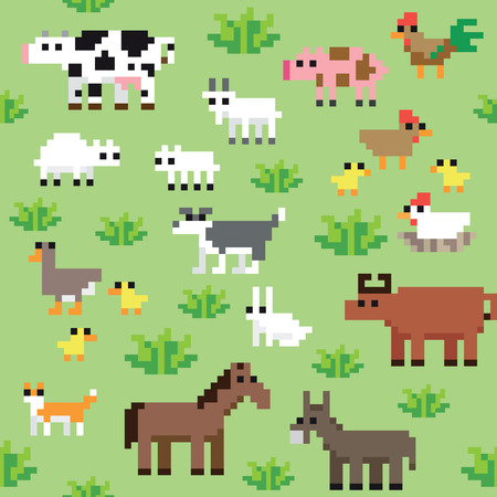 Seamless retro pixel fram animals pattern Illustration