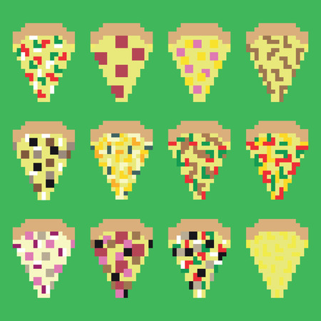 game meat: Retro pixel pizza slices in vector