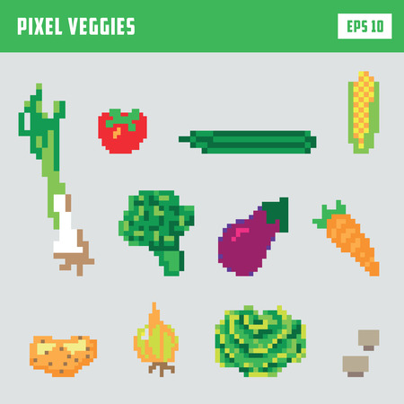 Pixel vegetable game icon set