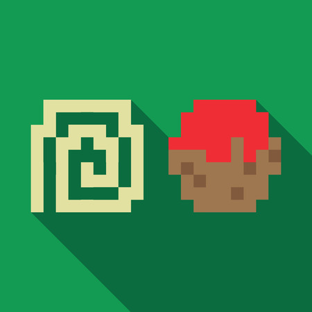 comic duo: Spaghetti and Meatball dynamic duo pixelated flat design icon