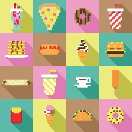 game meat: Seamless collection, pixel, vintage, diner food pattern in vector Illustration