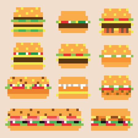 Collection of retro pixel burgers in vector Illustration