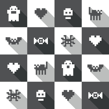 Seamless Halloween festive black and white pixel pattern in vector Ilustracja