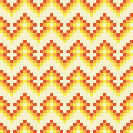 Seamless abstract geomatric orange pixel pattern in vector