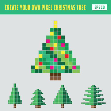 Pixel Christmas tree DIY vector illustration Illustration