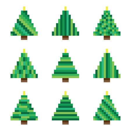 Set green pixel Christmas trees in vector