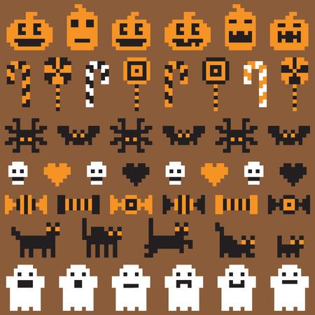 Halloween festive seamless pixel pattern in vector