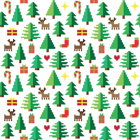 xmas: Colorful Pixel Pattern with Christmas Elements
