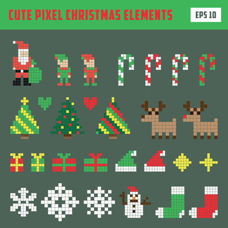 Colorful Pixel Elements Christmas icon set Illustration