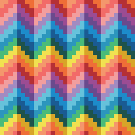 Seamless abstract geomatric pixel rainbow zigzag pattern vector