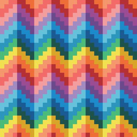 Seamless abstract geomatric pixel rainbow zigzag pattern vector