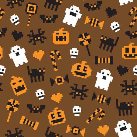 Halloween festive seamless pixel pattern in vector