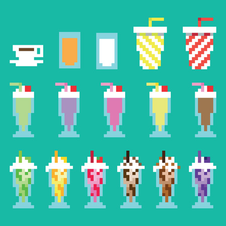 Collection retro, pixel milkshakes, drinks, beverages in vector