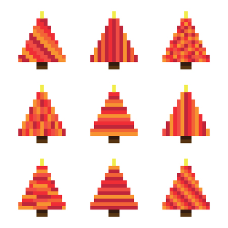 Set red pixel Christmas trees in vector